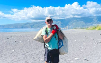 En 6 mois de séjour sur notre île, il collecte en solo 2 tonnes de déchets